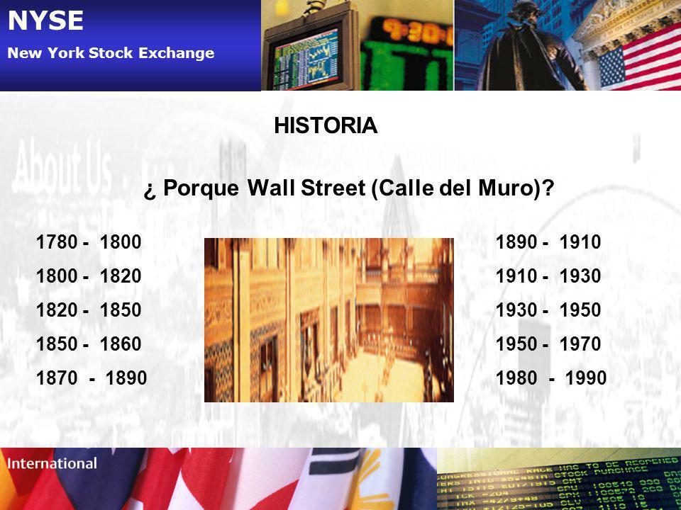 NYSE New York Stock Exchange HISTORIA ¿ Porque Wall Street (Calle del Muro)? 1780 - 1800 1800 - 1820 1820 - 1850 1850 - 1860 1870 - 1890 1890 - 1910 1