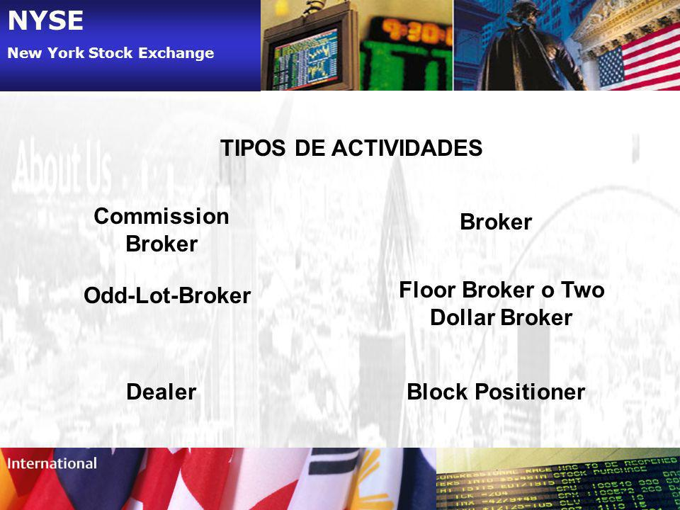 NYSE New York Stock Exchange TIPOS DE ACTIVIDADES Commission Broker Odd-Lot-Broker Dealer Floor Broker o Two Dollar Broker Broker Block Positioner