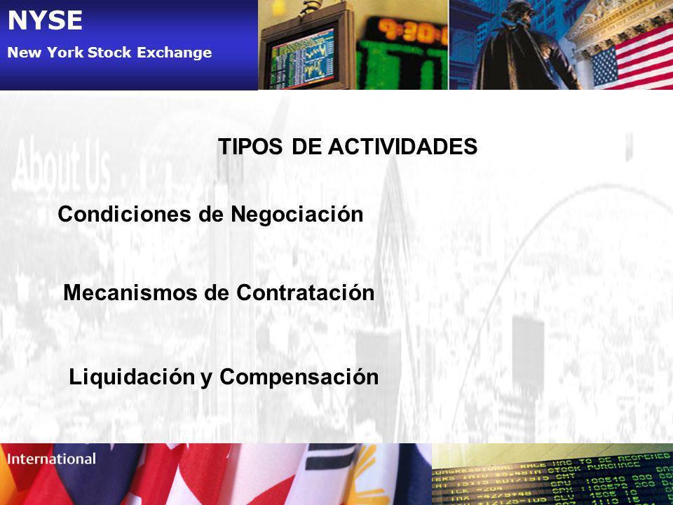 NYSE New York Stock Exchange TIPOS DE ACTIVIDADES Condiciones de Negociación Mecanismos de Contratación Liquidación y Compensación