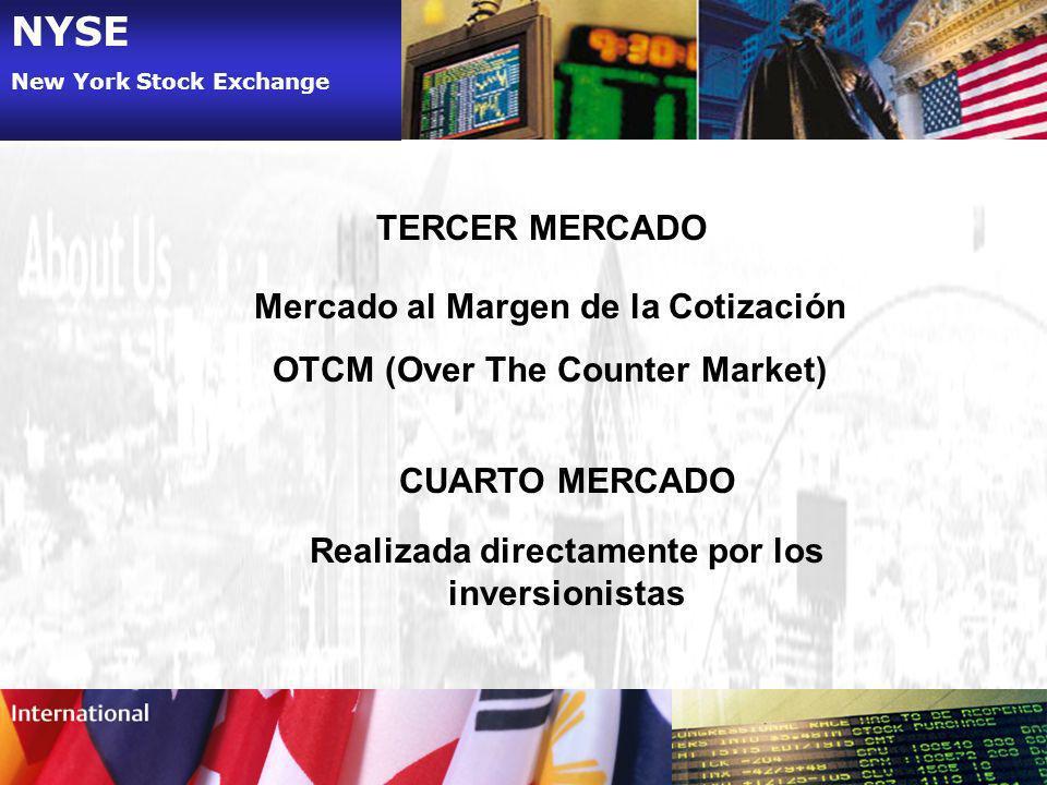 NYSE New York Stock Exchange TERCER MERCADO Mercado al Margen de la Cotización OTCM (Over The Counter Market) CUARTO MERCADO Realizada directamente po