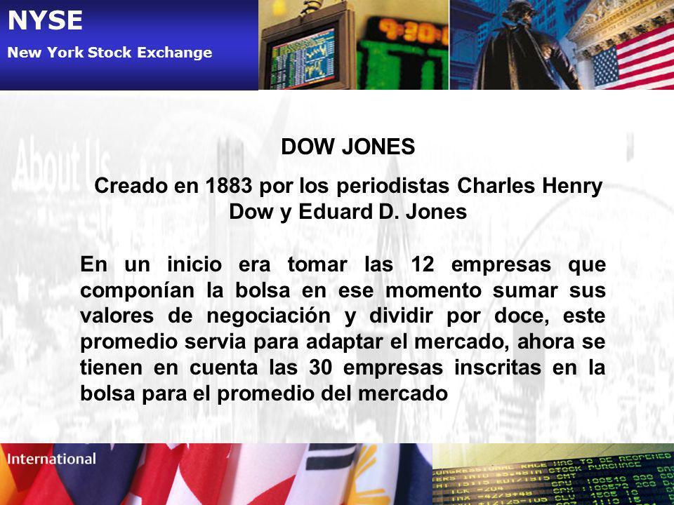 NYSE New York Stock Exchange DOW JONES Creado en 1883 por los periodistas Charles Henry Dow y Eduard D. Jones En un inicio era tomar las 12 empresas q