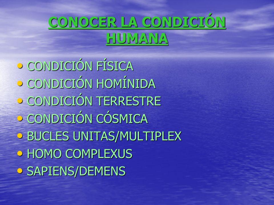 CONOCER LA CONDICIÓN HUMANA CONDICIÓN FÍSICA CONDICIÓN HOMÍNIDA CONDICIÓN TERRESTRE CONDICIÓN CÓSMICA BUCLES UNITAS/MULTIPLEX HOMO COMPLEXUS SAPIENS/D