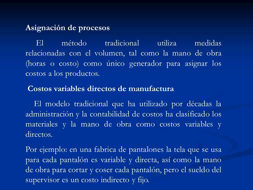Asignación de procesos El método tradicional utiliza medidas relacionadas con el volumen, tal como la mano de obra (horas o costo) como único generado