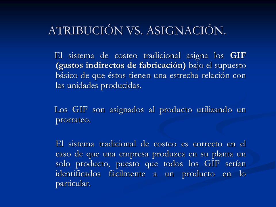 ATRIBUCIÓN VS. ASIGNACIÓN. El sistema de costeo tradicional asigna los GIF (gastos indirectos de fabricación) bajo el supuesto básico de que éstos tie