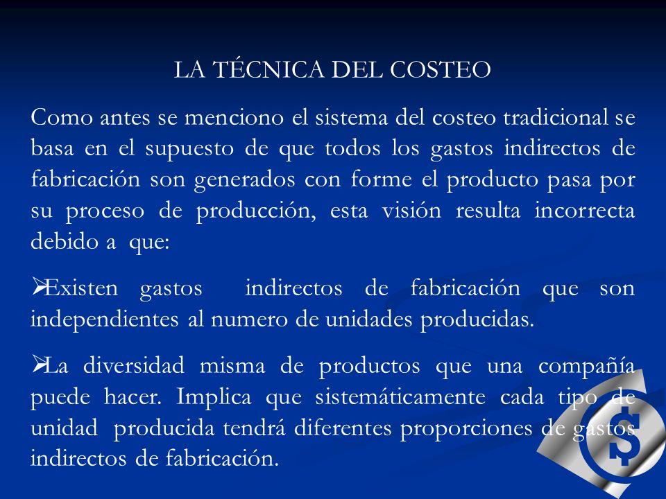 LA TÉCNICA DEL COSTEO Como antes se menciono el sistema del costeo tradicional se basa en el supuesto de que todos los gastos indirectos de fabricació