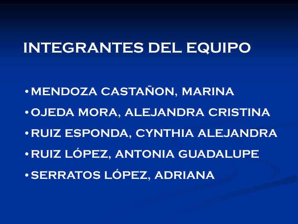 INTEGRANTES DEL EQUIPO MENDOZA CASTAÑON, MARINA OJEDA MORA, ALEJANDRA CRISTINA RUIZ ESPONDA, CYNTHIA ALEJANDRA RUIZ LÓPEZ, ANTONIA GUADALUPE SERRATOS