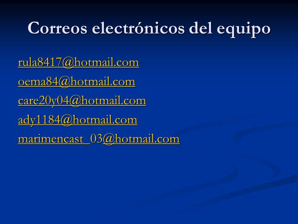 Correos electrónicos del equipo rula8417@hotmail.com oema84@hotmail.com care20y04@hotmail.com ady1184@hotmail.com marimencast_03@hotmail.com @hotmail.