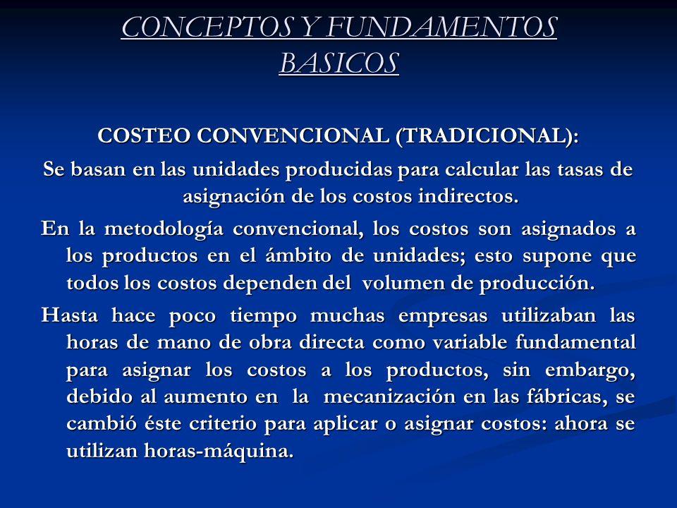 CONCEPTOS Y FUNDAMENTOS BASICOS COSTEO CONVENCIONAL (TRADICIONAL): Se basan en las unidades producidas para calcular las tasas de asignación de los co