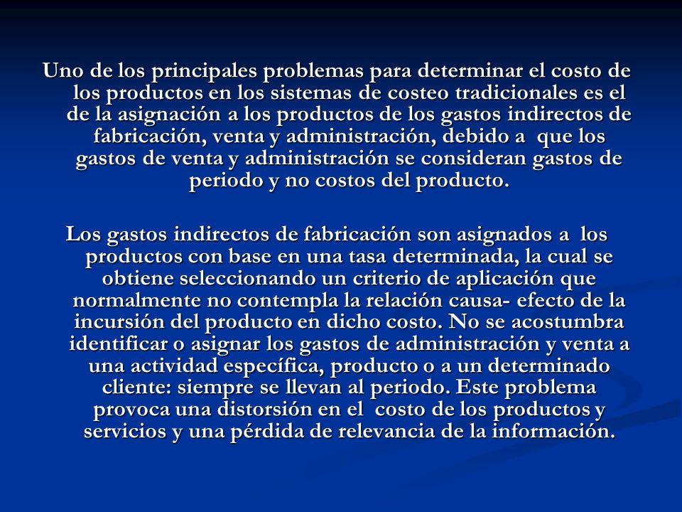 Uno de los principales problemas para determinar el costo de los productos en los sistemas de costeo tradicionales es el de la asignación a los produc