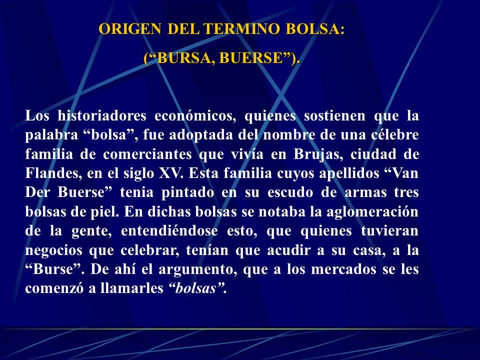 ORIGEN DEL TERMINO BOLSA: (BURSA, BUERSE). Los historiadores económicos, quienes sostienen que la palabra bolsa, fue adoptada del nombre de una célebr