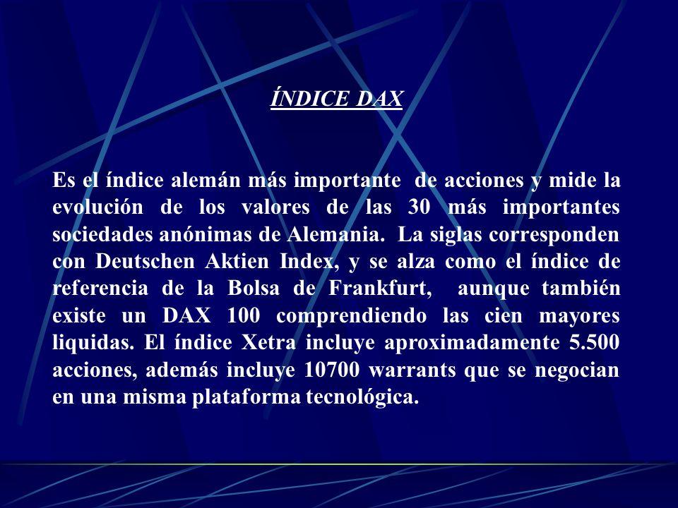 ÍNDICE DAX Es el índice alemán más importante de acciones y mide la evolución de los valores de las 30 más importantes sociedades anónimas de Alemania