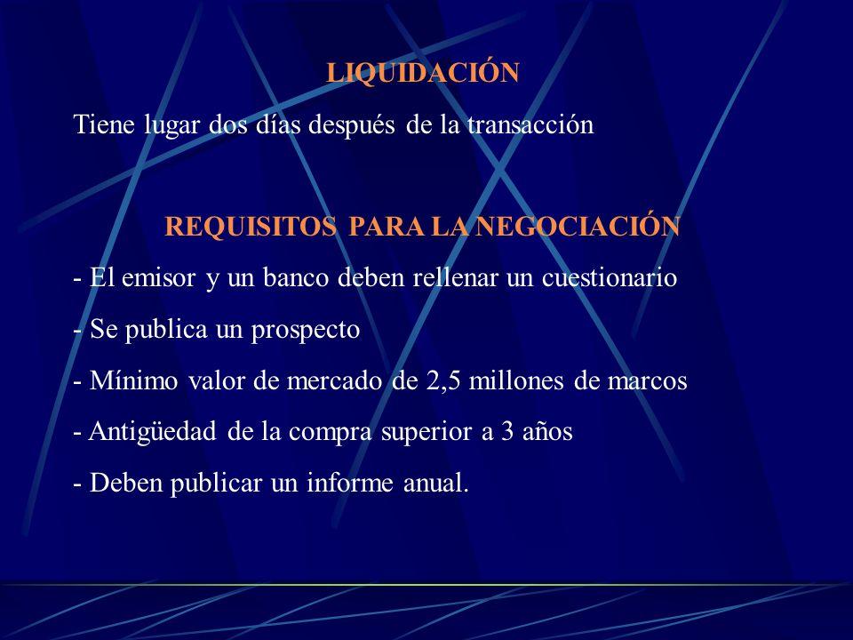 LIQUIDACIÓN Tiene lugar dos días después de la transacción REQUISITOS PARA LA NEGOCIACIÓN - El emisor y un banco deben rellenar un cuestionario - Se p