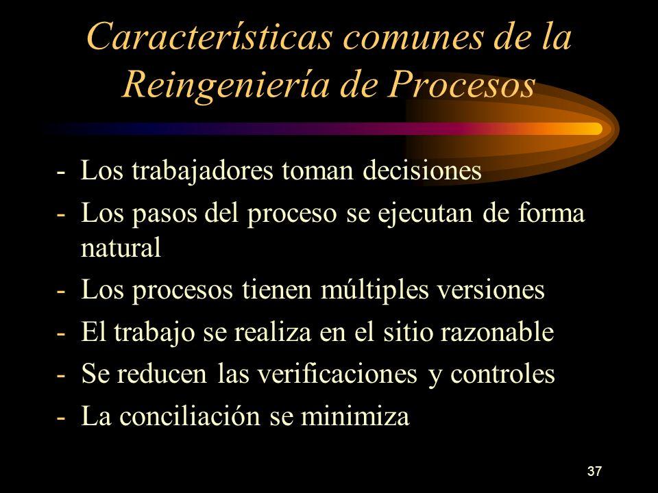 37 Características comunes de la Reingeniería de Procesos - Los trabajadores toman decisiones -Los pasos del proceso se ejecutan de forma natural -Los