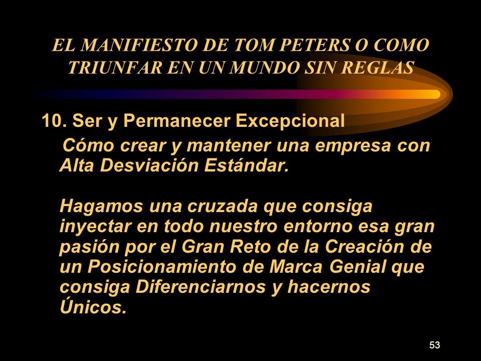 53 EL MANIFIESTO DE TOM PETERS O COMO TRIUNFAR EN UN MUNDO SIN REGLAS 10. Ser y Permanecer Excepcional Cómo crear y mantener una empresa con Alta Desv