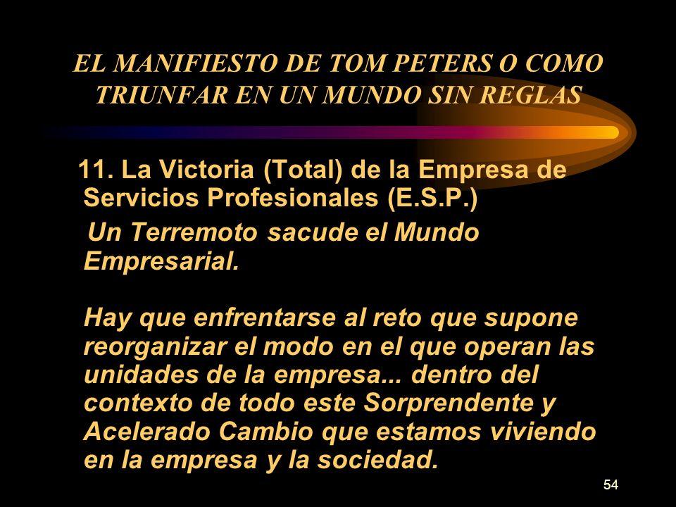 54 EL MANIFIESTO DE TOM PETERS O COMO TRIUNFAR EN UN MUNDO SIN REGLAS 11. La Victoria (Total) de la Empresa de Servicios Profesionales (E.S.P.) Un Ter