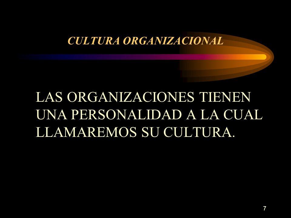 8 CULTURA ORGANIZACIONAL SISTEMA DE SIGNIFICACIÓN COMPARTIDA POR LOS MIEMBROS DE UNA ORGANIZACIÓN QUE DETERMINA, EN GRAN MEDIDA LA FORMA EN QUE ACTÚAN SUS EMPLEADOS Y QUE DISTINGUEN A ESTA DE OTRAS ORGANIZACIONES.