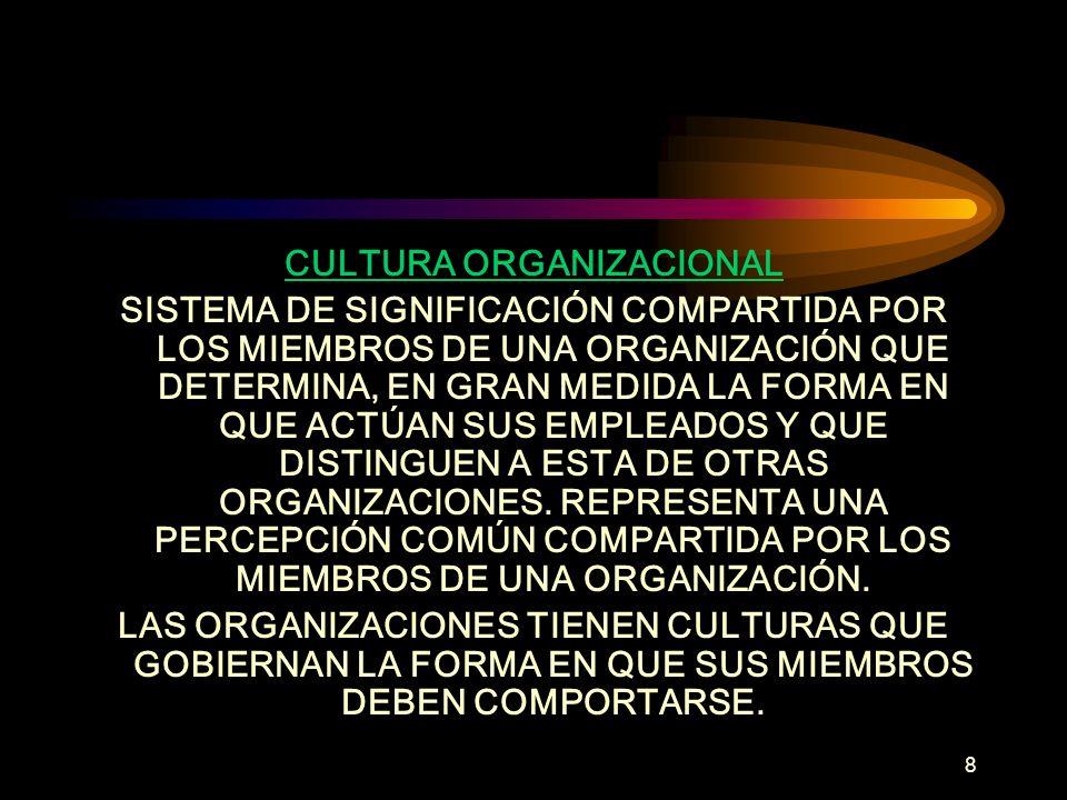 8 CULTURA ORGANIZACIONAL SISTEMA DE SIGNIFICACIÓN COMPARTIDA POR LOS MIEMBROS DE UNA ORGANIZACIÓN QUE DETERMINA, EN GRAN MEDIDA LA FORMA EN QUE ACTÚAN