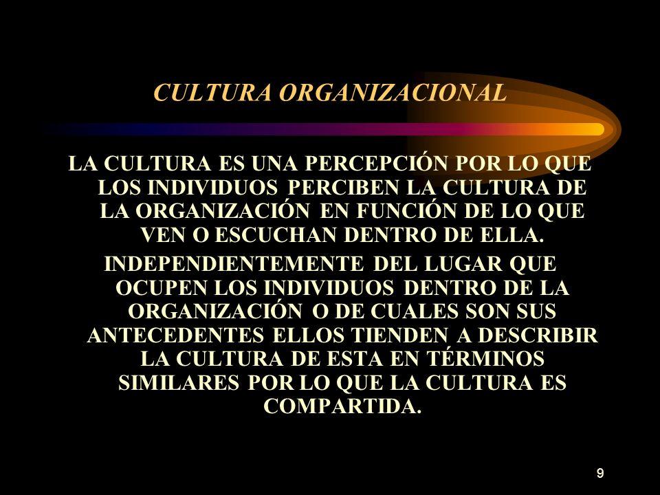 9 CULTURA ORGANIZACIONAL LA CULTURA ES UNA PERCEPCIÓN POR LO QUE LOS INDIVIDUOS PERCIBEN LA CULTURA DE LA ORGANIZACIÓN EN FUNCIÓN DE LO QUE VEN O ESCU