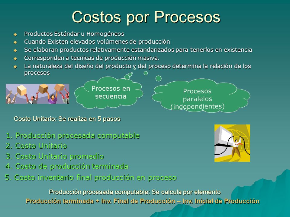 Costos por Procesos Productos Estándar u Homogéneos Productos Estándar u Homogéneos Cuando Existen elevados volúmenes de producción Cuando Existen ele