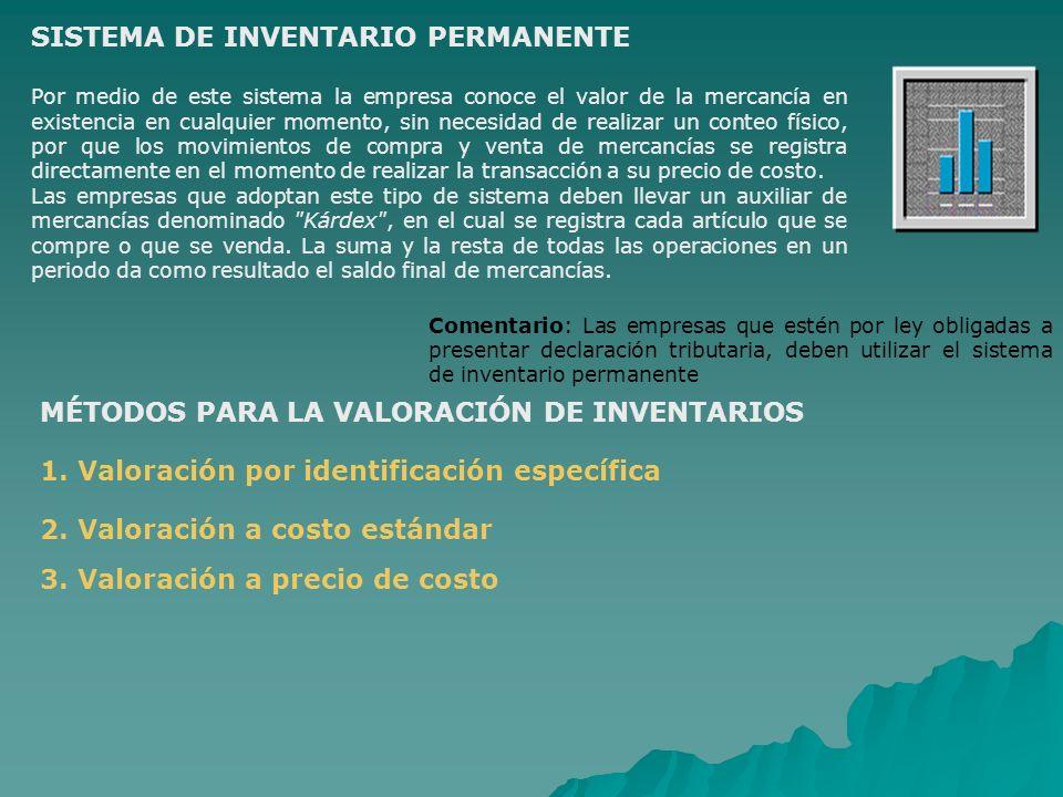 SISTEMA DE INVENTARIO PERMANENTE Por medio de este sistema la empresa conoce el valor de la mercancía en existencia en cualquier momento, sin necesida