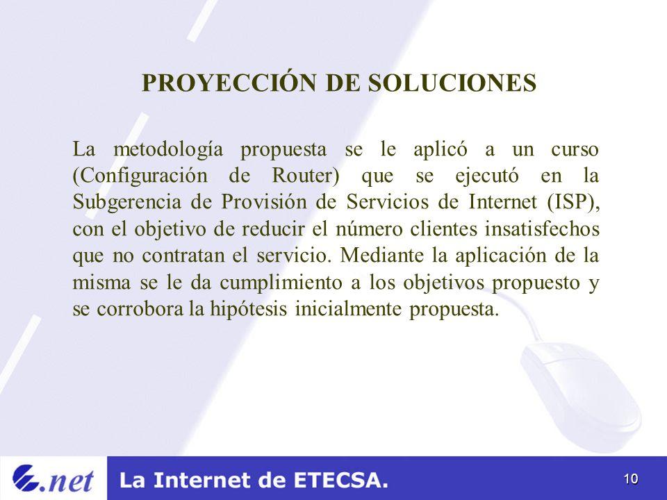 10 PROYECCIÓN DE SOLUCIONES La metodología propuesta se le aplicó a un curso (Configuración de Router) que se ejecutó en la Subgerencia de Provisión d