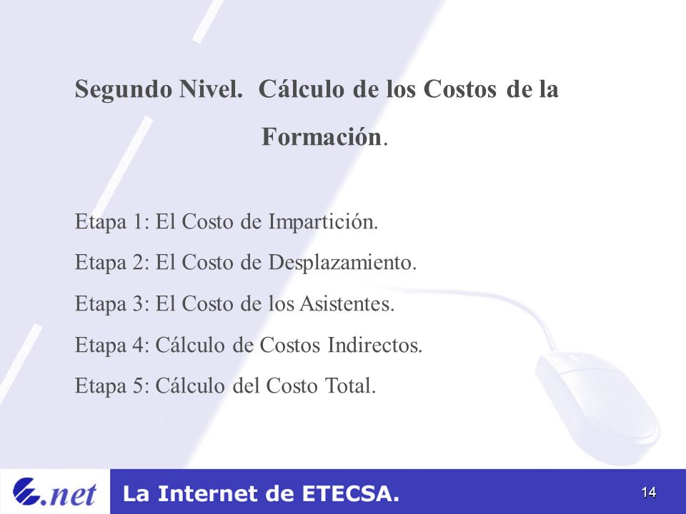 14 Segundo Nivel. Cálculo de los Costos de la Formación. Etapa 1: El Costo de Impartición. Etapa 2: El Costo de Desplazamiento. Etapa 3: El Costo de l