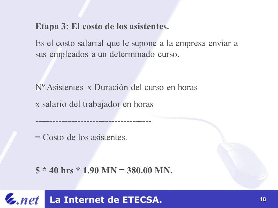 18 Etapa 3: El costo de los asistentes. Es el costo salarial que le supone a la empresa enviar a sus empleados a un determinado curso. Nº Asistentes x