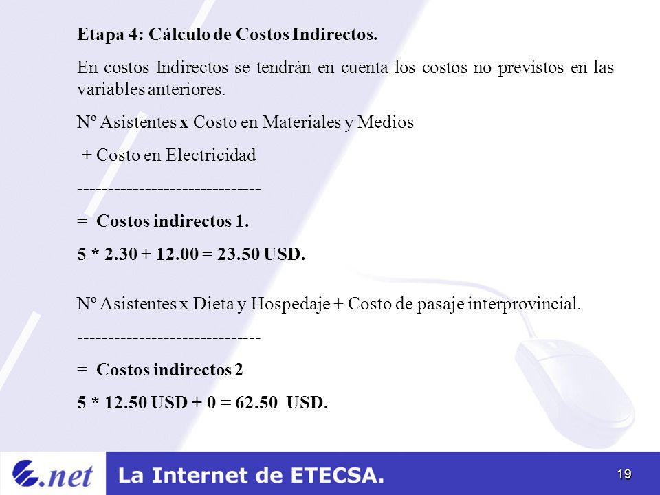 19 Etapa 4: Cálculo de Costos Indirectos. En costos Indirectos se tendrán en cuenta los costos no previstos en las variables anteriores. Nº Asistentes