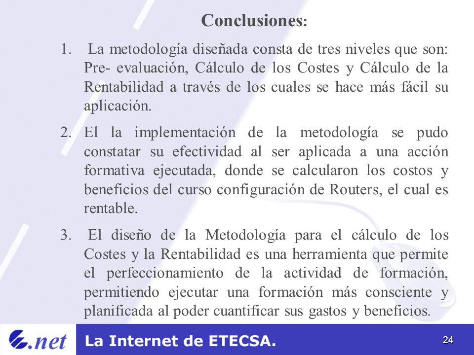 24 Conclusiones : 1. La metodología diseñada consta de tres niveles que son: Pre- evaluación, Cálculo de los Costes y Cálculo de la Rentabilidad a tra