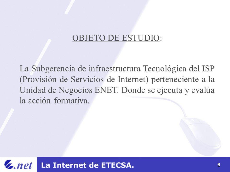 6 OBJETO DE ESTUDIO: La Subgerencia de infraestructura Tecnológica del ISP (Provisión de Servicios de Internet) perteneciente a la Unidad de Negocios