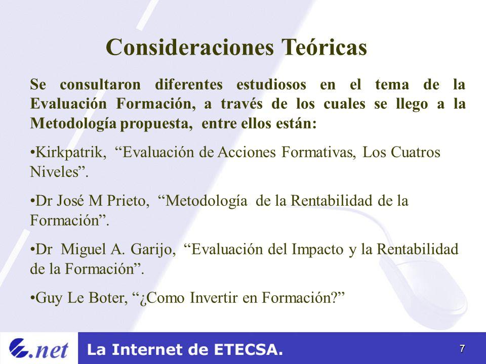 7 Consideraciones Teóricas Se consultaron diferentes estudiosos en el tema de la Evaluación Formación, a través de los cuales se llego a la Metodologí