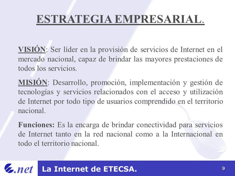 9 ESTRATEGIA EMPRESARIAL. VISIÓN: Ser líder en la provisión de servicios de Internet en el mercado nacional, capaz de brindar las mayores prestaciones