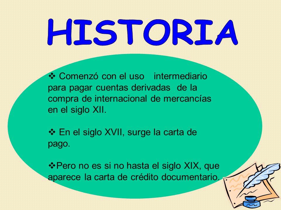 Comenzó con el uso intermediario para pagar cuentas derivadas de la compra de internacional de mercancías en el siglo XII. En el siglo XVII, surge la