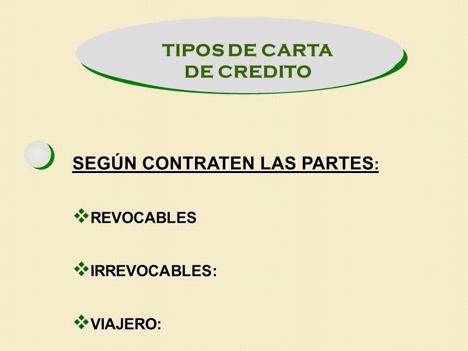 TIPOS DE CARTA DE CREDITO SEGÚN EL COMPROMISO: CONFIRMADAS CONFIRMADAS NO CONFIRMADAS NO CONFIRMADAS
