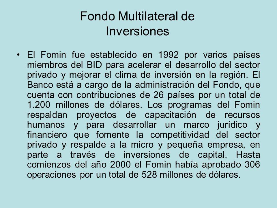 Fondo Multilateral de Inversiones El Fomin fue establecido en 1992 por varios países miembros del BID para acelerar el desarrollo del sector privado y