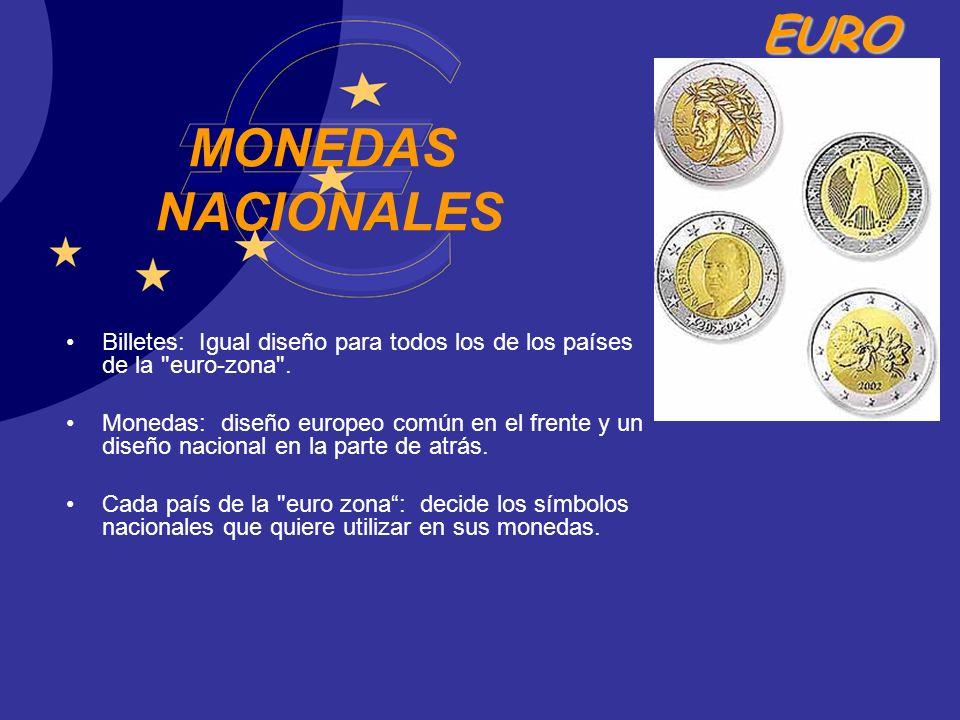 EURO MONEDAS NACIONALES Billetes: Igual diseño para todos los de los países de la
