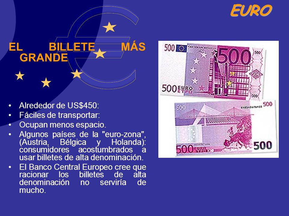 EURO EL BILLETE MÁS GRANDE Alrededor de US$450: Fáciles de transportar: Ocupan menos espacio. Algunos países de la