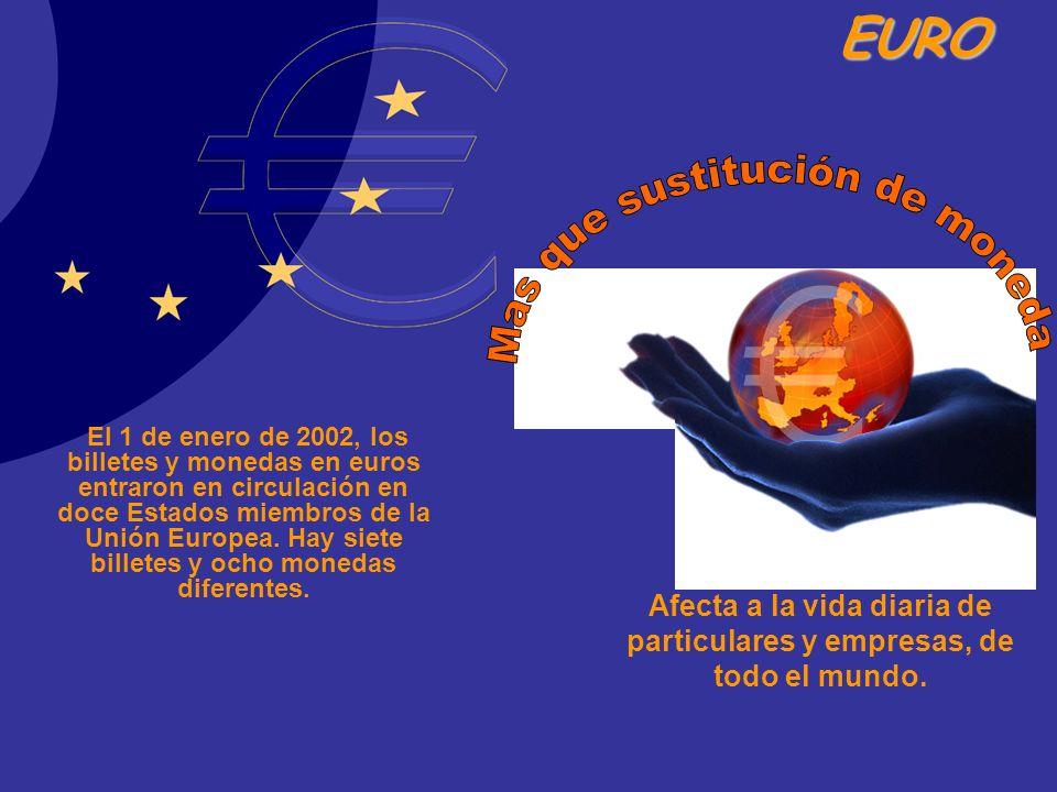 EURO El 1 de enero de 2002, los billetes y monedas en euros entraron en circulación en doce Estados miembros de la Unión Europea. Hay siete billetes y