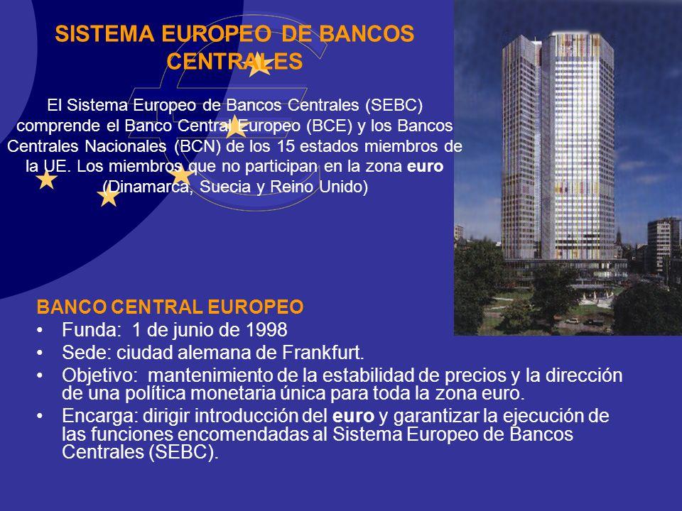 EURO BANCO CENTRAL EUROPEO Funda: 1 de junio de 1998 Sede: ciudad alemana de Frankfurt. Objetivo: mantenimiento de la estabilidad de precios y la dire