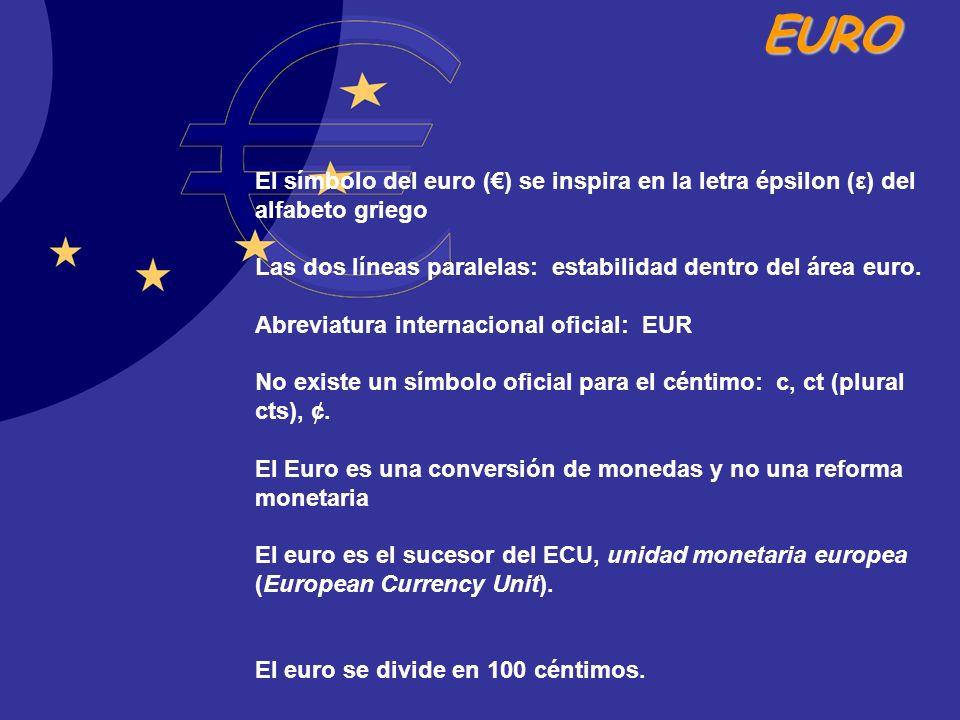 EURO El símbolo del euro () se inspira en la letra épsilon (ε) del alfabeto griego Las dos líneas paralelas: estabilidad dentro del área euro. Abrevia