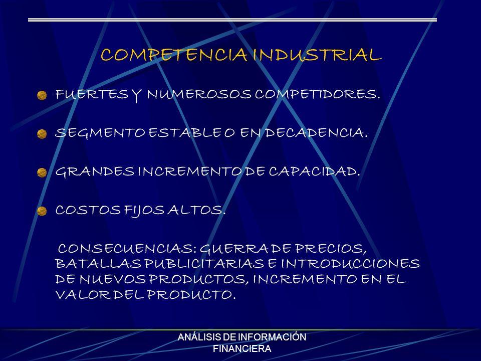 ANÁLISIS DE INFORMACIÓN FINANCIERA COMPETENCIA INDUSTRIAL FUERTES Y NUMEROSOS COMPETIDORES. SEGMENTO ESTABLE O EN DECADENCIA. GRANDES INCREMENTO DE CA