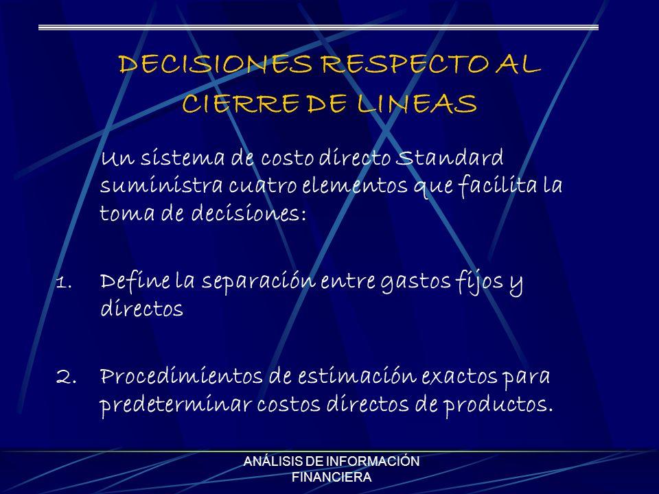 ANÁLISIS DE INFORMACIÓN FINANCIERA DECISIONES RESPECTO AL CIERRE DE LINEAS Un sistema de costo directo Standard suministra cuatro elementos que facilita la toma de decisiones: 1.
