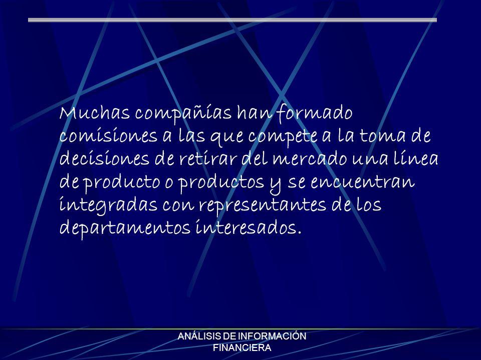 ANÁLISIS DE INFORMACIÓN FINANCIERA Muchas compañías han formado comisiones a las que compete a la toma de decisiones de retirar del mercado una línea de producto o productos y se encuentran integradas con representantes de los departamentos interesados.