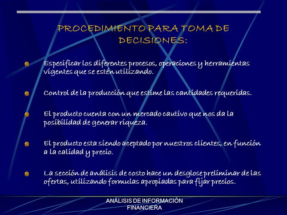 PROCEDIMIENTO PARA TOMA DE DECISIONES: Especificar los diferentes procesos, operaciones y herramientas vigentes que se estén utilizando. Control de la