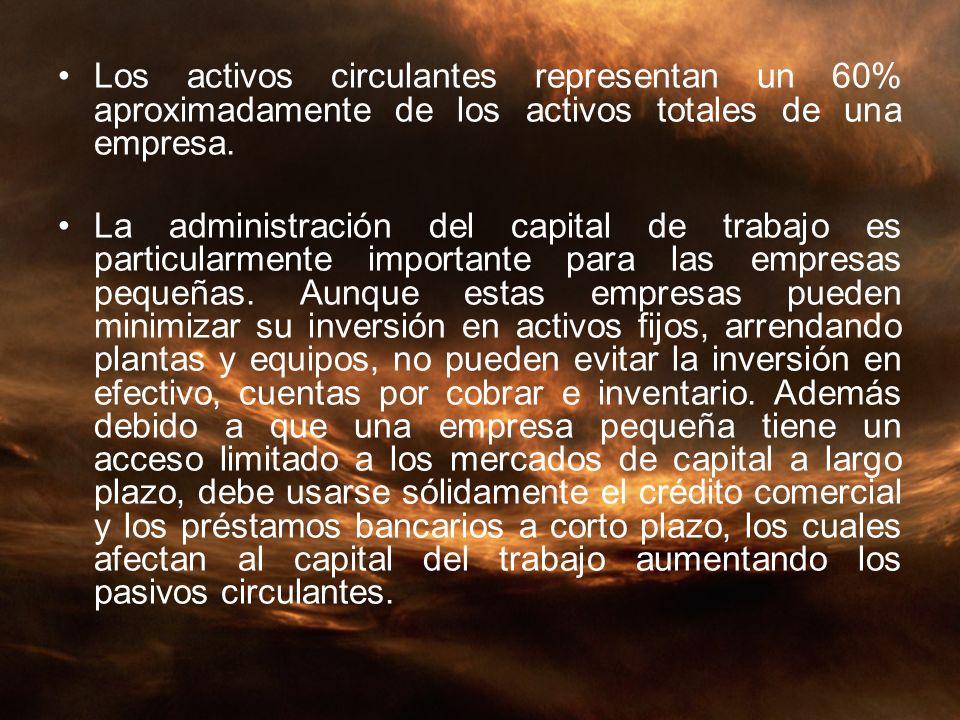 Los activos circulantes representan un 60% aproximadamente de los activos totales de una empresa. La administración del capital de trabajo es particul