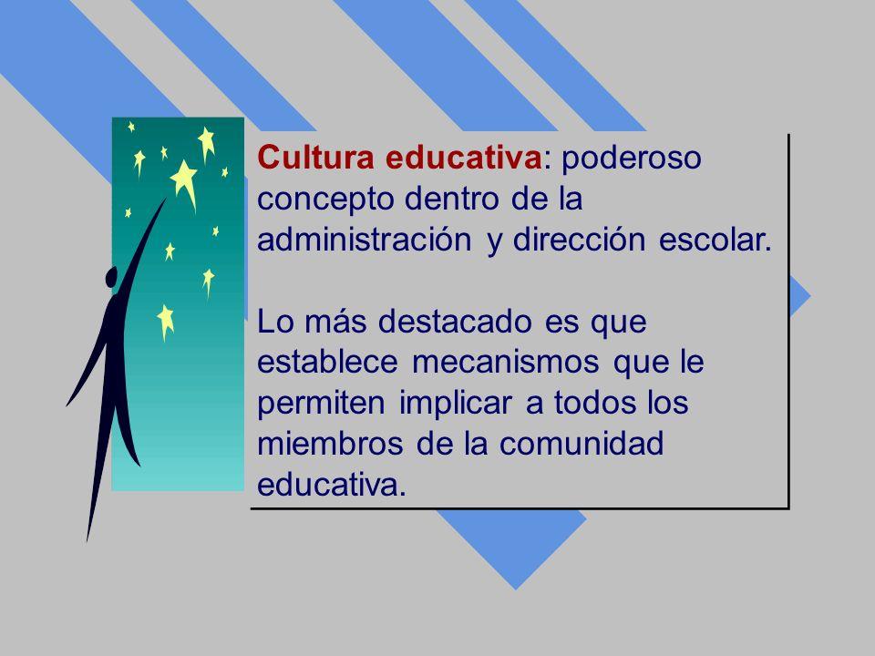 Cultura educativa: poderoso concepto dentro de la administración y dirección escolar. Lo más destacado es que establece mecanismos que le permiten imp