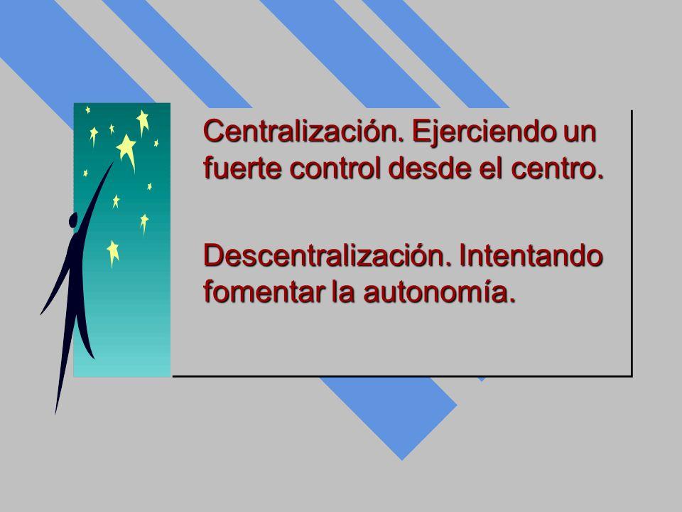 Centralización. Ejerciendo un fuerte control desde el centro. Centralización. Ejerciendo un fuerte control desde el centro. Descentralización. Intenta
