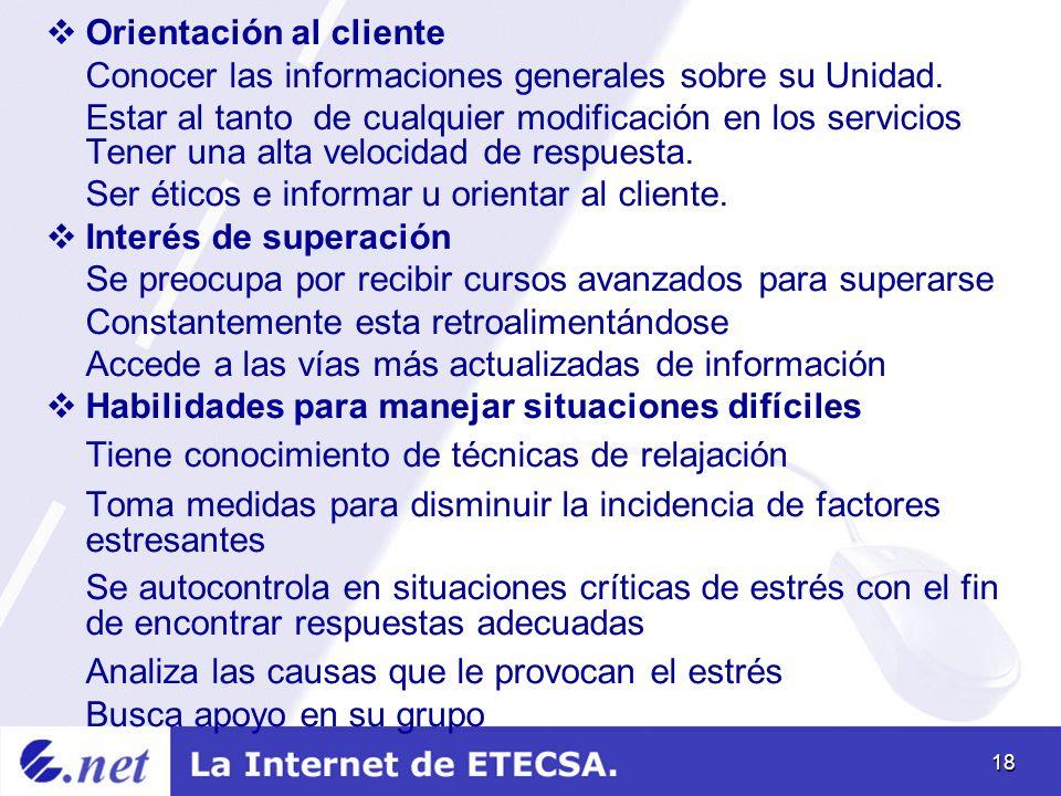 18 Orientación al cliente Conocer las informaciones generales sobre su Unidad.