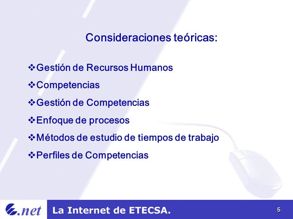5 Consideraciones teóricas: Gestión de Recursos Humanos Competencias Gestión de Competencias Enfoque de procesos Métodos de estudio de tiempos de trabajo Perfiles de Competencias
