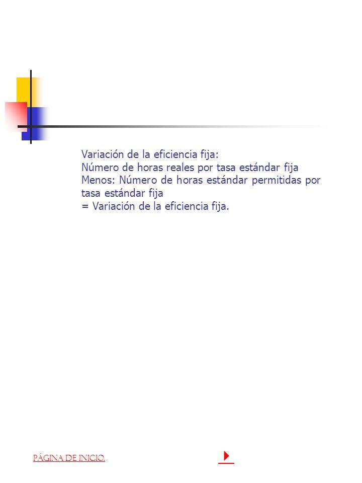 Variación de la eficiencia fija: Número de horas reales por tasa estándar fija Menos: Número de horas estándar permitidas por tasa estándar fija = Var